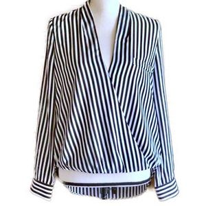 Aryn K Black And White Striped, Wrapped Blouse, M